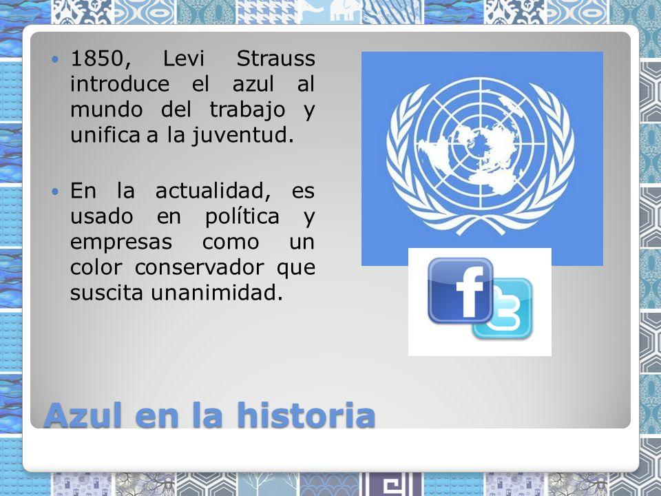 1850, Levi Strauss introduce el azul al mundo del trabajo y unifica a la juventud.