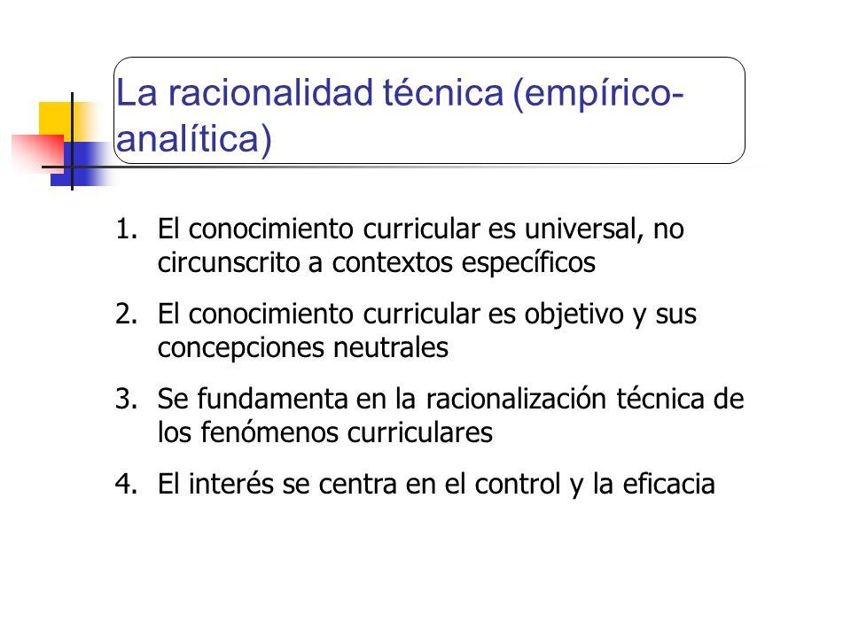 La racionalidad técnica (empírico-analítica)