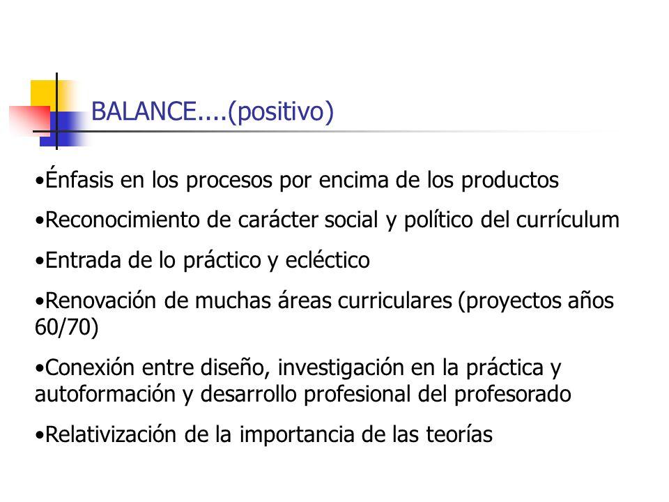 BALANCE....(positivo) Énfasis en los procesos por encima de los productos. Reconocimiento de carácter social y político del currículum.