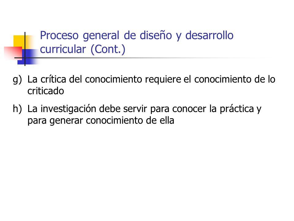 Proceso general de diseño y desarrollo curricular (Cont.)