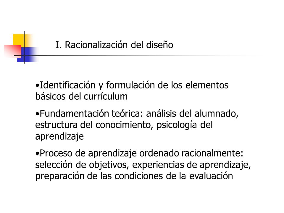 I. Racionalización del diseño