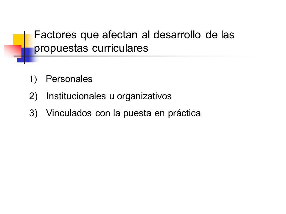 Factores que afectan al desarrollo de las propuestas curriculares