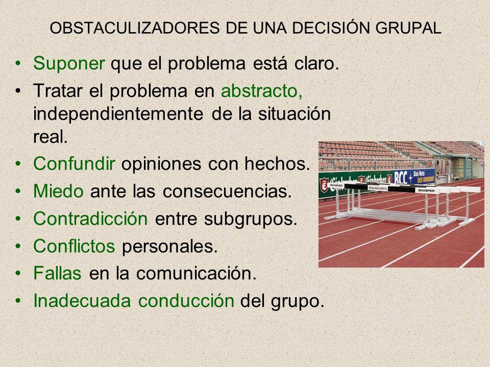 OBSTACULIZADORES DE UNA DECISIÓN GRUPAL