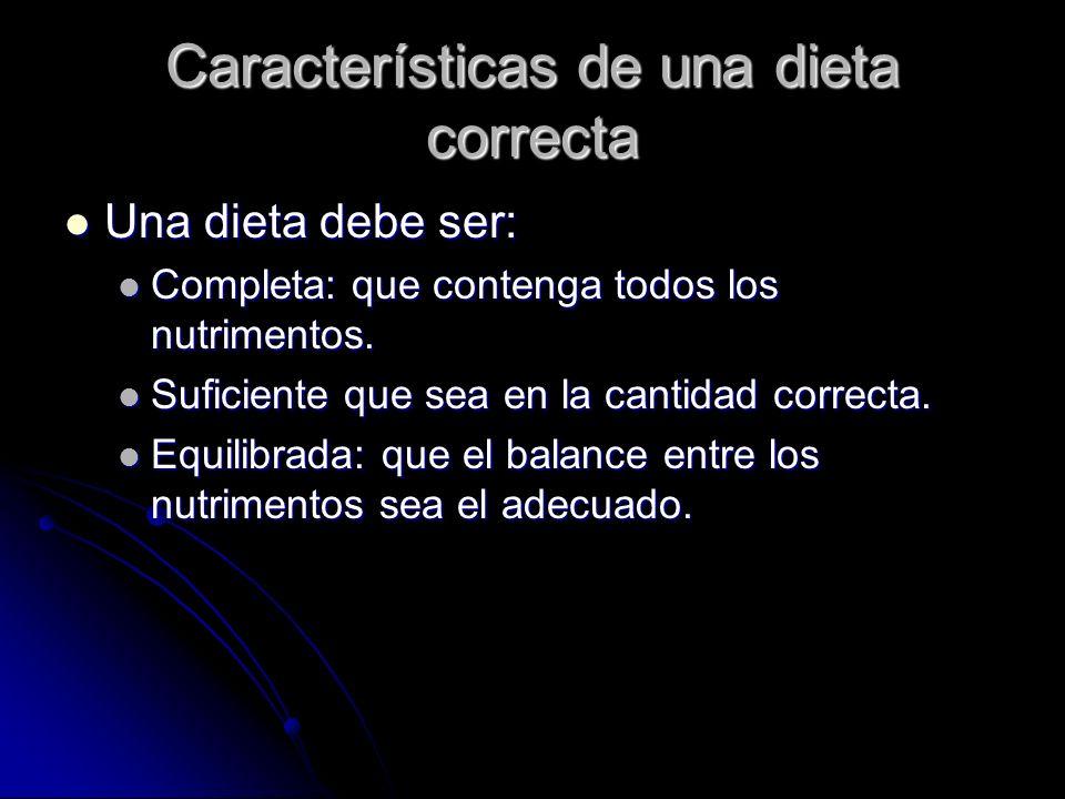 Características de una dieta correcta