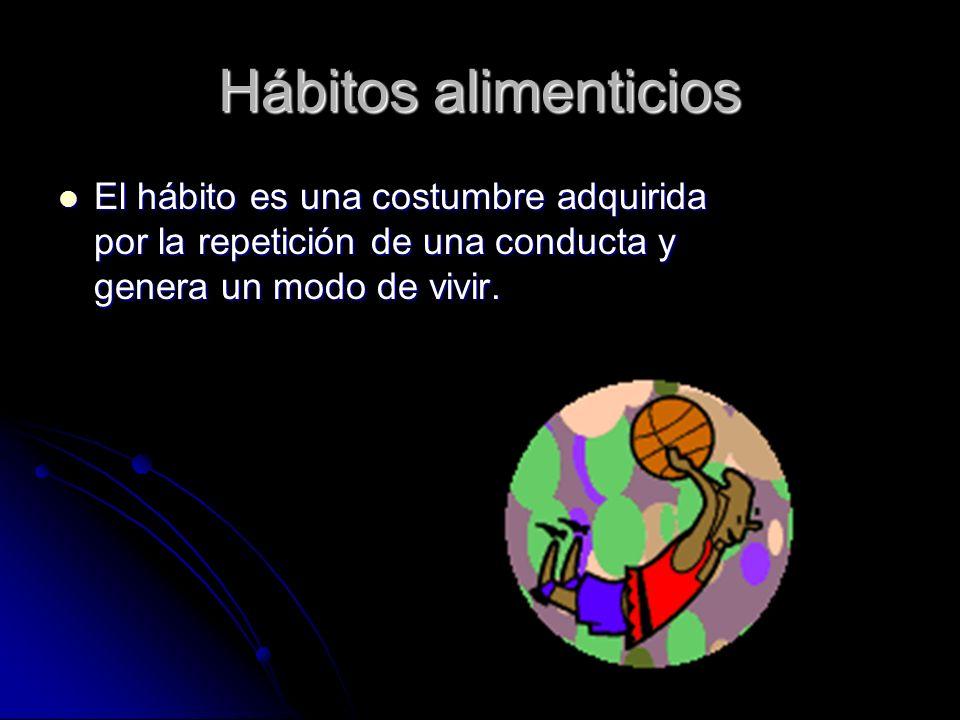 Hábitos alimenticios El hábito es una costumbre adquirida por la repetición de una conducta y genera un modo de vivir.