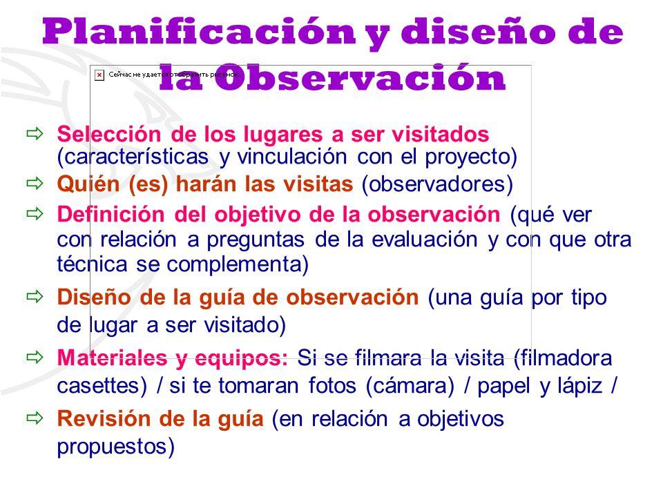 Planificación y diseño de la Observación