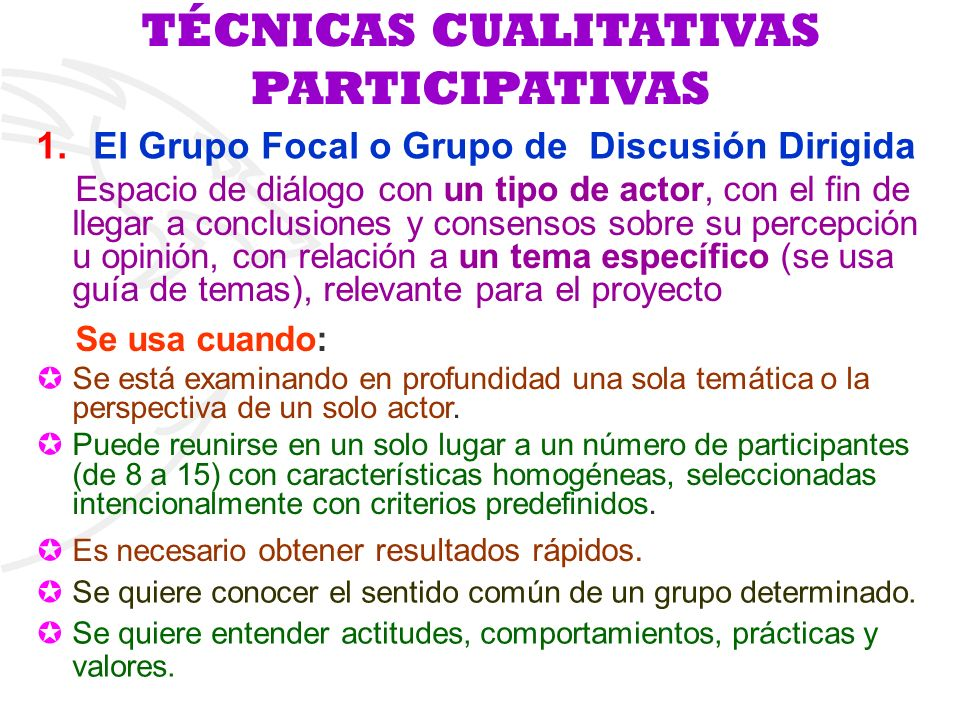 TÉCNICAS CUALITATIVAS PARTICIPATIVAS