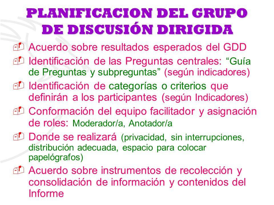 PLANIFICACION DEL GRUPO DE DISCUSIÓN DIRIGIDA