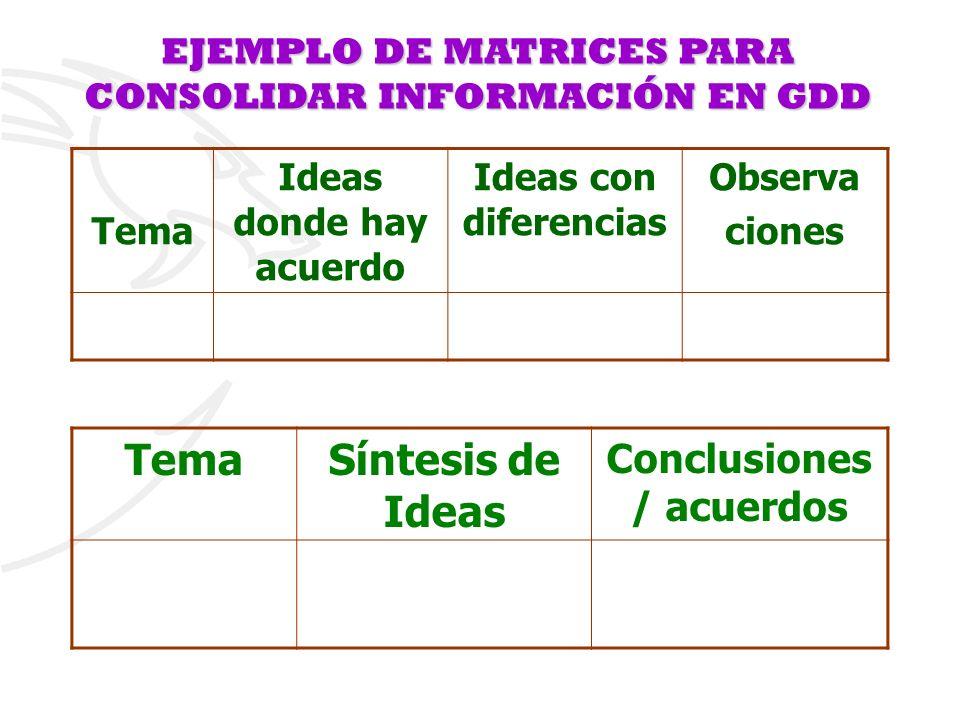 Tema Síntesis de Ideas Conclusiones / acuerdos