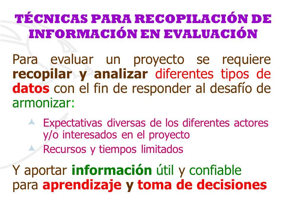 TÉCNICAS PARA RECOPILACIÓN DE INFORMACIÓN EN EVALUACIÓN
