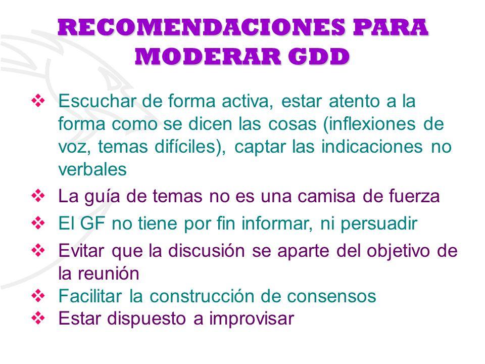 RECOMENDACIONES PARA MODERAR GDD