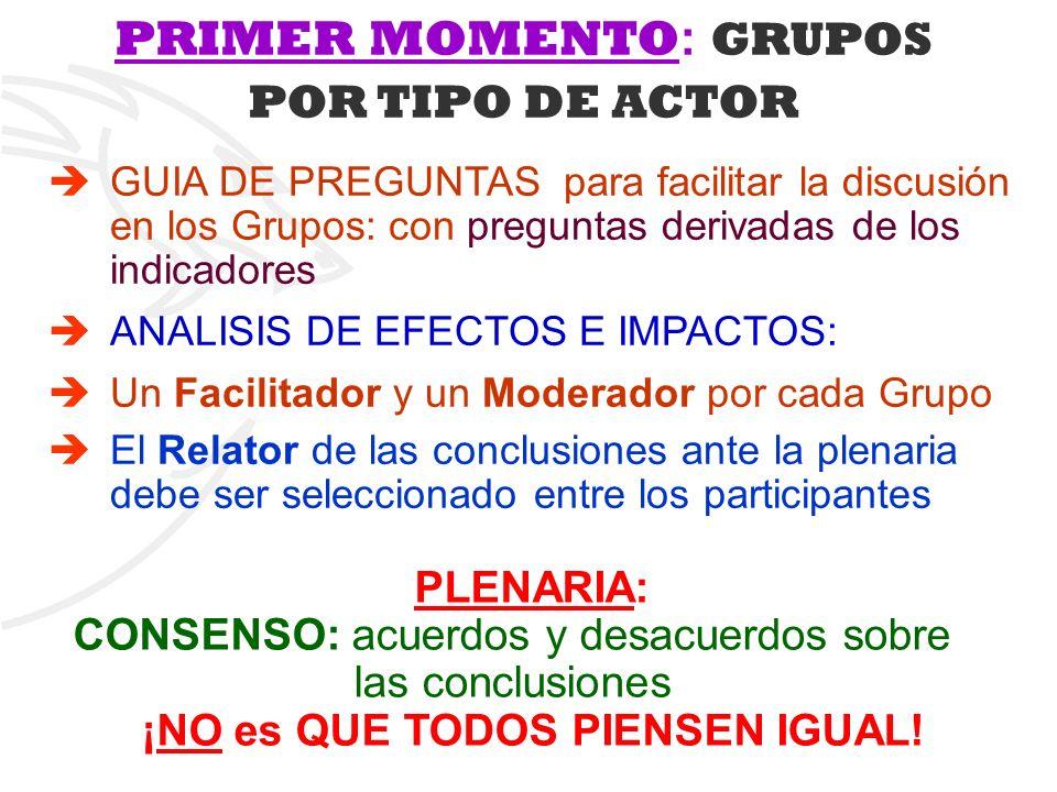 PRIMER MOMENTO: GRUPOS POR TIPO DE ACTOR