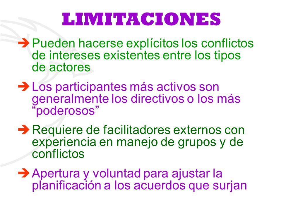 LIMITACIONES Pueden hacerse explícitos los conflictos de intereses existentes entre los tipos de actores.