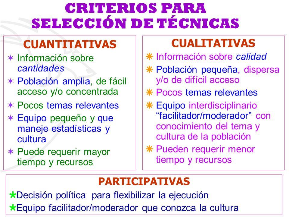 CRITERIOS PARA SELECCIÓN DE TÉCNICAS