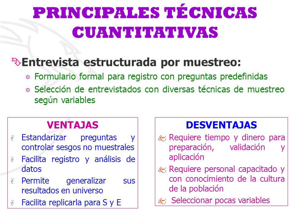 PRINCIPALES TÉCNICAS CUANTITATIVAS