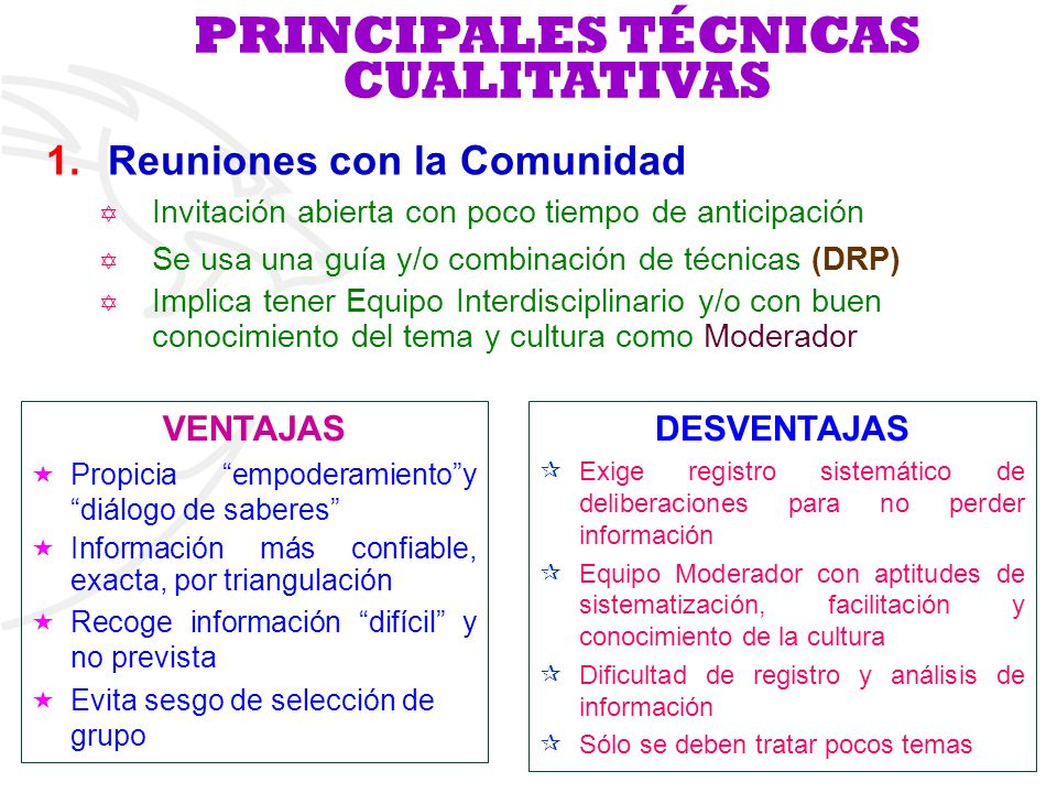 PRINCIPALES TÉCNICAS CUALITATIVAS