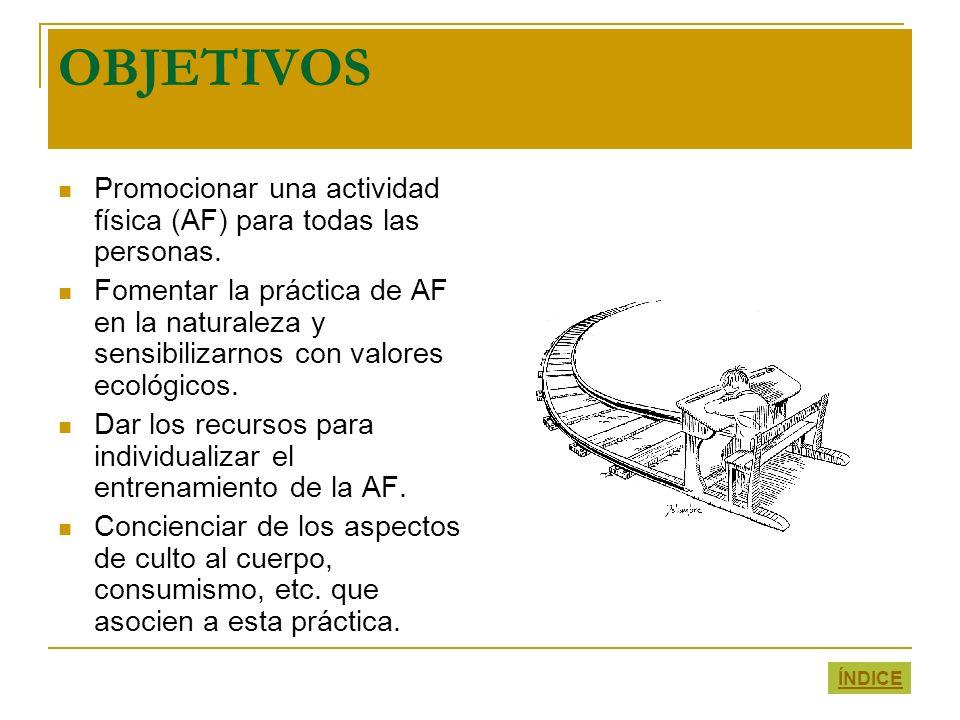 OBJETIVOS Promocionar una actividad física (AF) para todas las personas.
