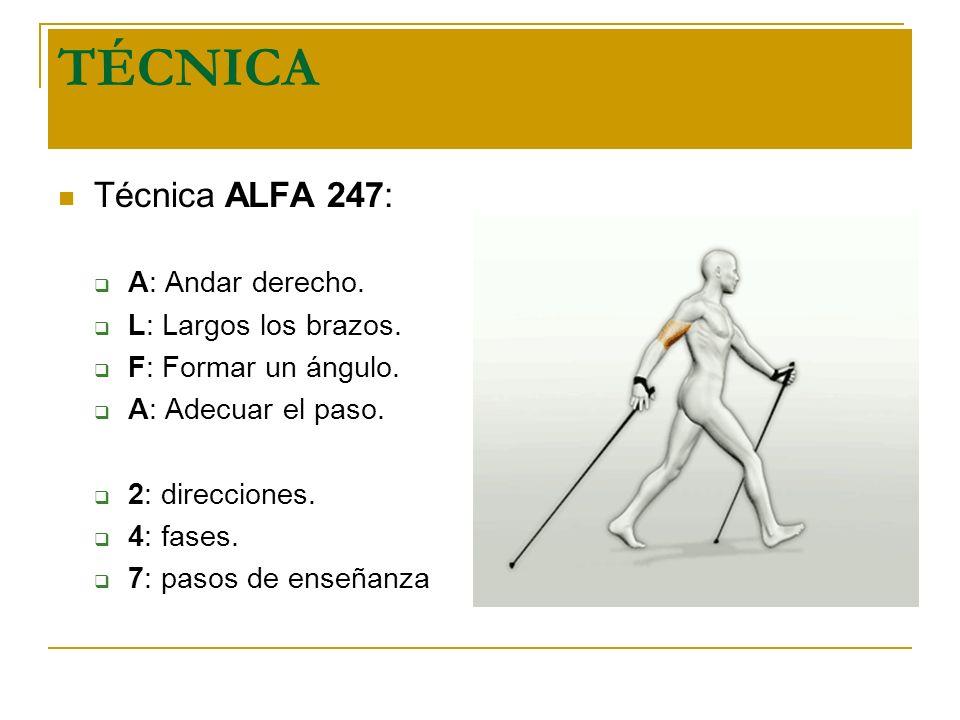 TÉCNICA Técnica ALFA 247: A: Andar derecho. L: Largos los brazos.
