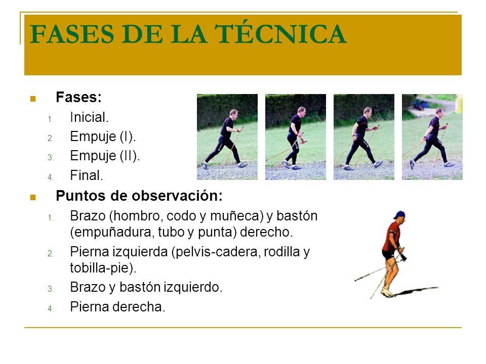 FASES DE LA TÉCNICA Fases: Puntos de observación: Inicial. Empuje (I).