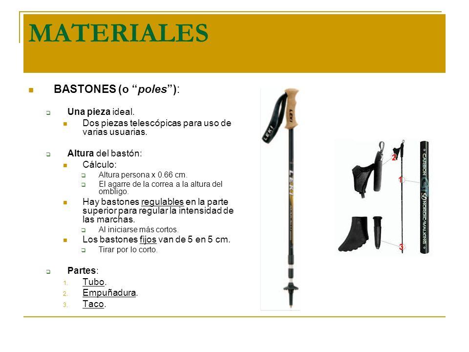 MATERIALES BASTONES (o poles ): Una pieza ideal.