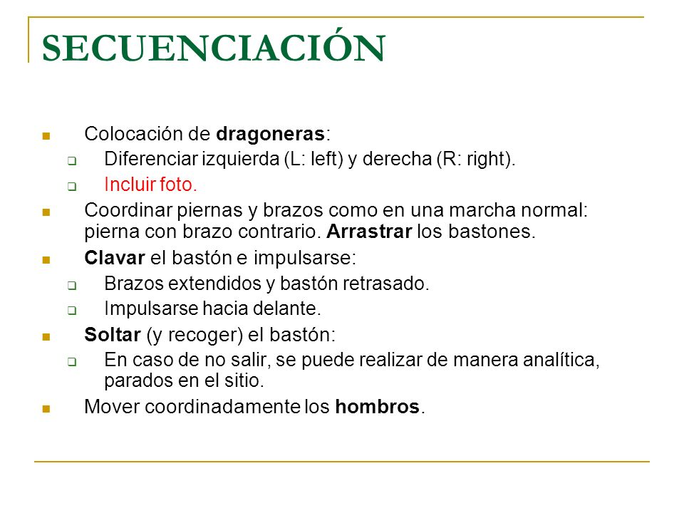 SECUENCIACIÓN Colocación de dragoneras: