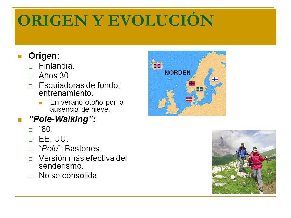 ORIGEN Y EVOLUCIÓN Origen: Pole-Walking : Finlandia. Años 30.