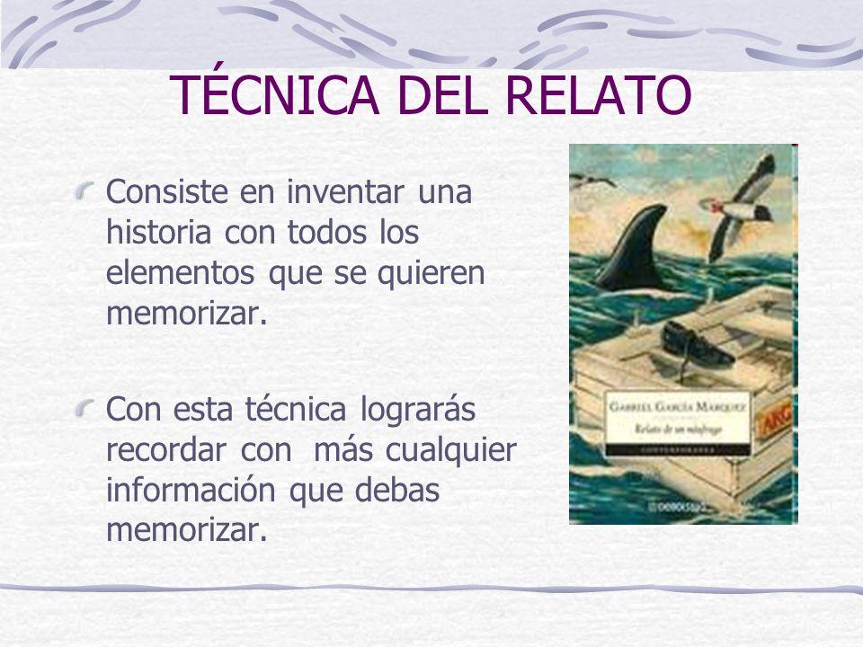 TÉCNICA DEL RELATO Consiste en inventar una historia con todos los elementos que se quieren memorizar.