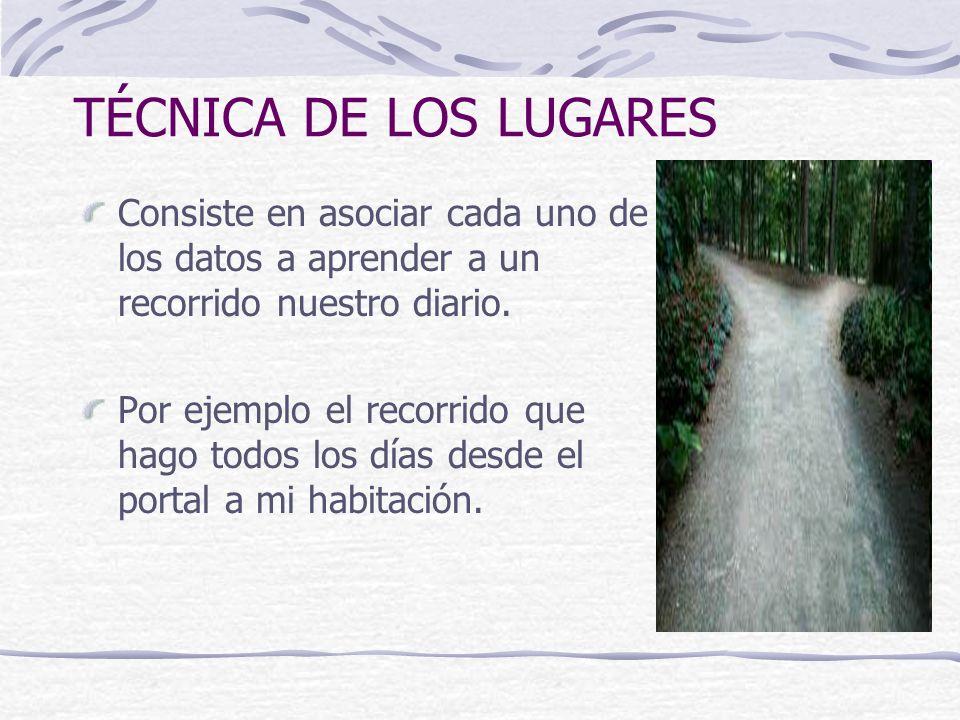 TÉCNICA DE LOS LUGARES Consiste en asociar cada uno de los datos a aprender a un recorrido nuestro diario.