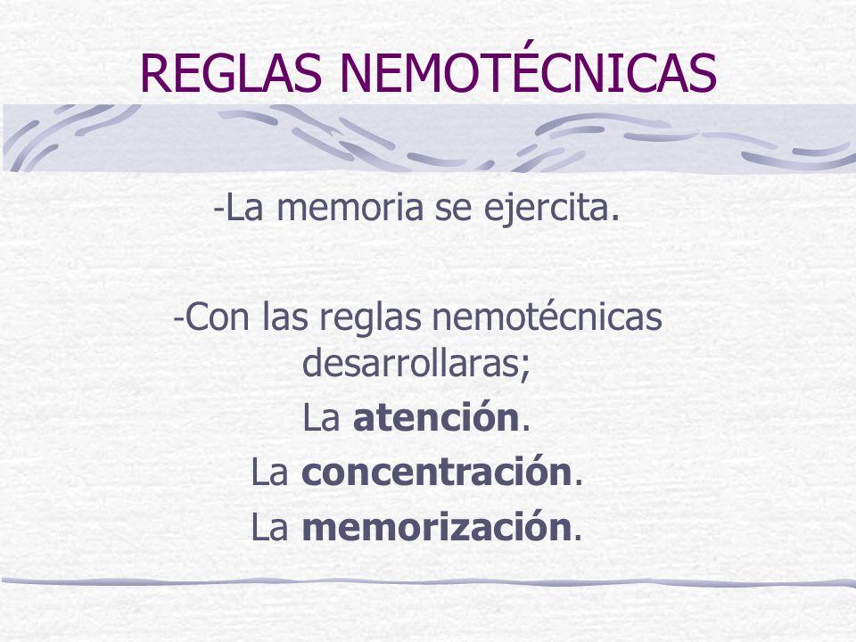 Con las reglas nemotécnicas desarrollaras;