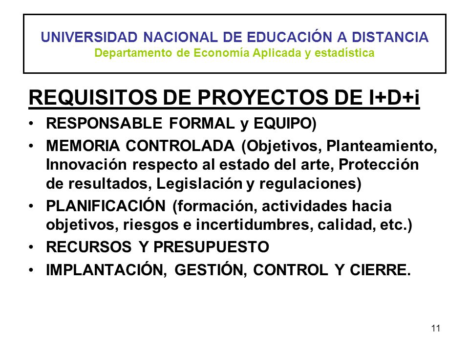 REQUISITOS DE PROYECTOS DE I+D+i