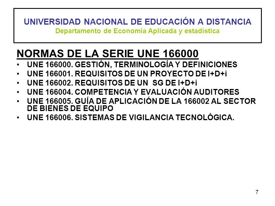 UNIVERSIDAD NACIONAL DE EDUCACIÓN A DISTANCIA Departamento de Economía Aplicada y estadística