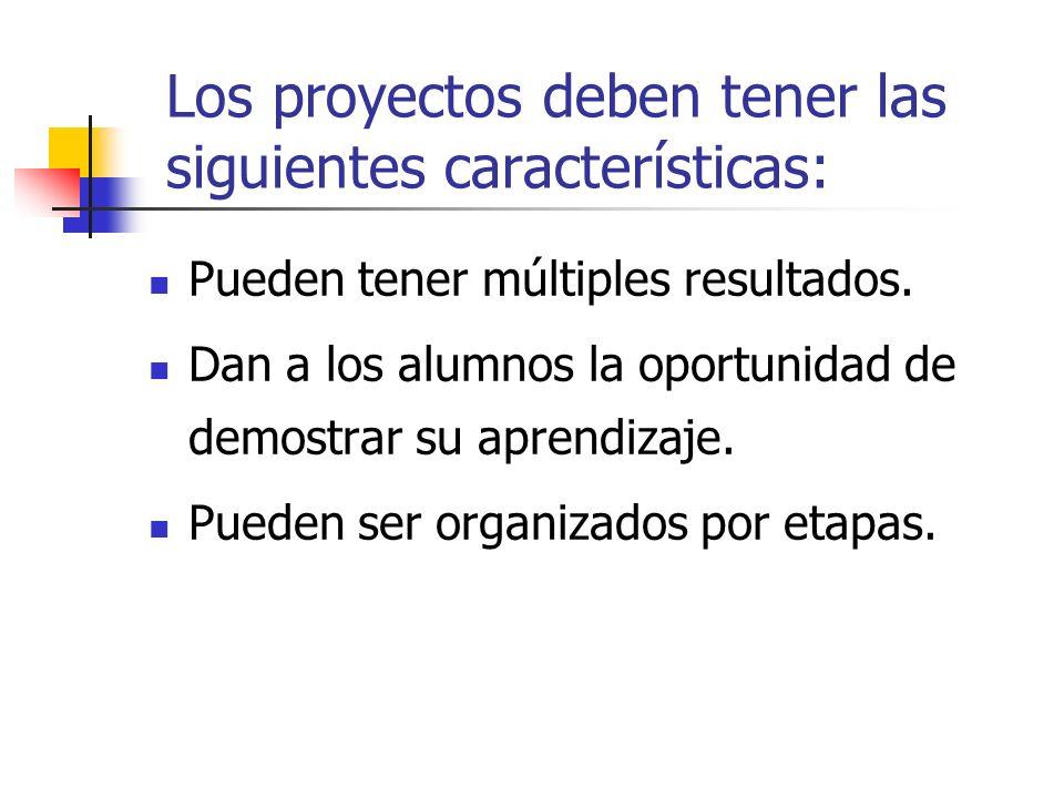 Los proyectos deben tener las siguientes características: