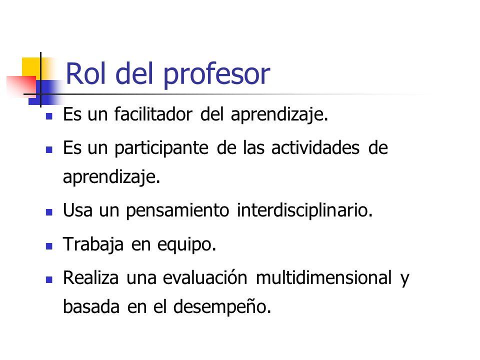 Rol del profesor Es un facilitador del aprendizaje.