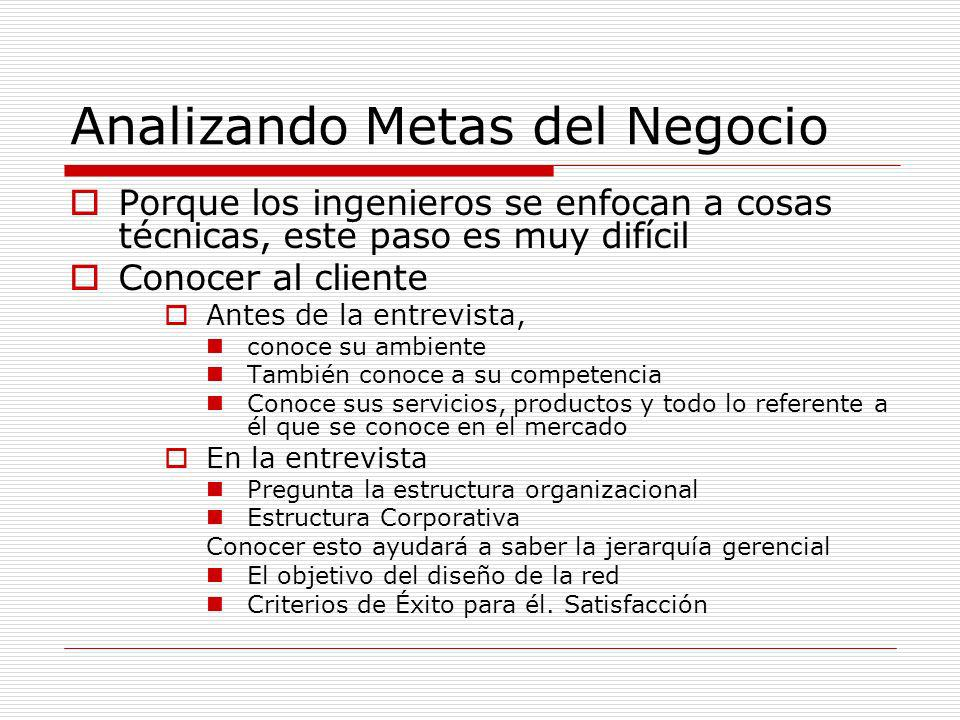 Analizando Metas del Negocio