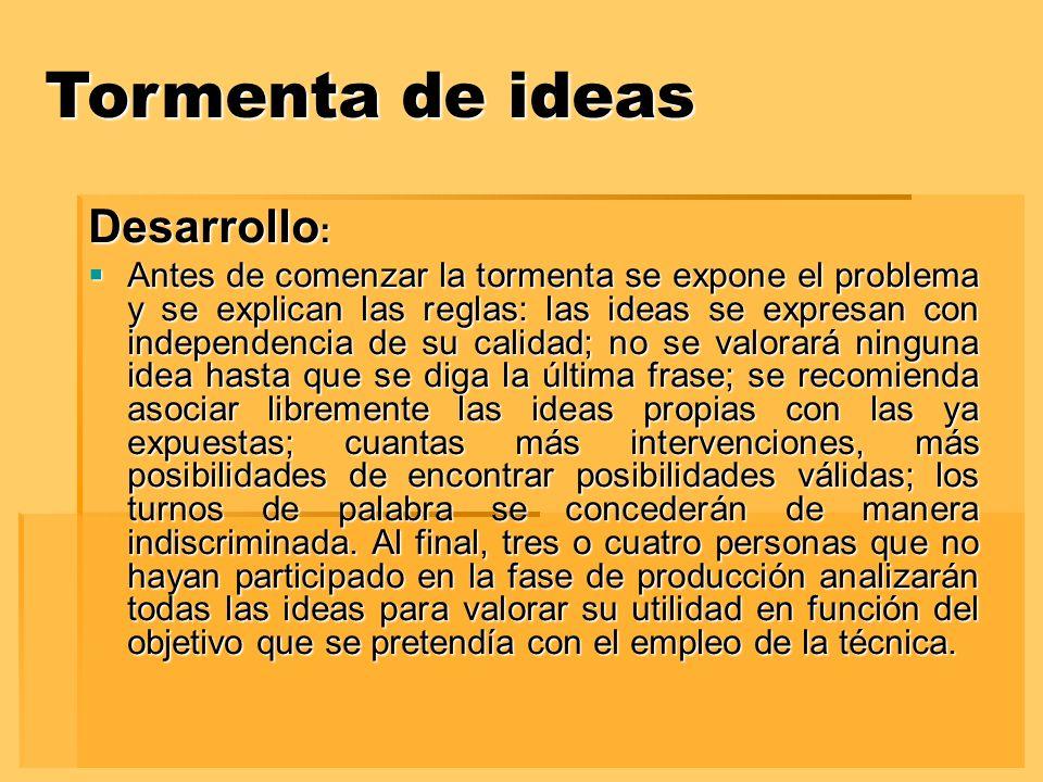 Tormenta de ideas Desarrollo: