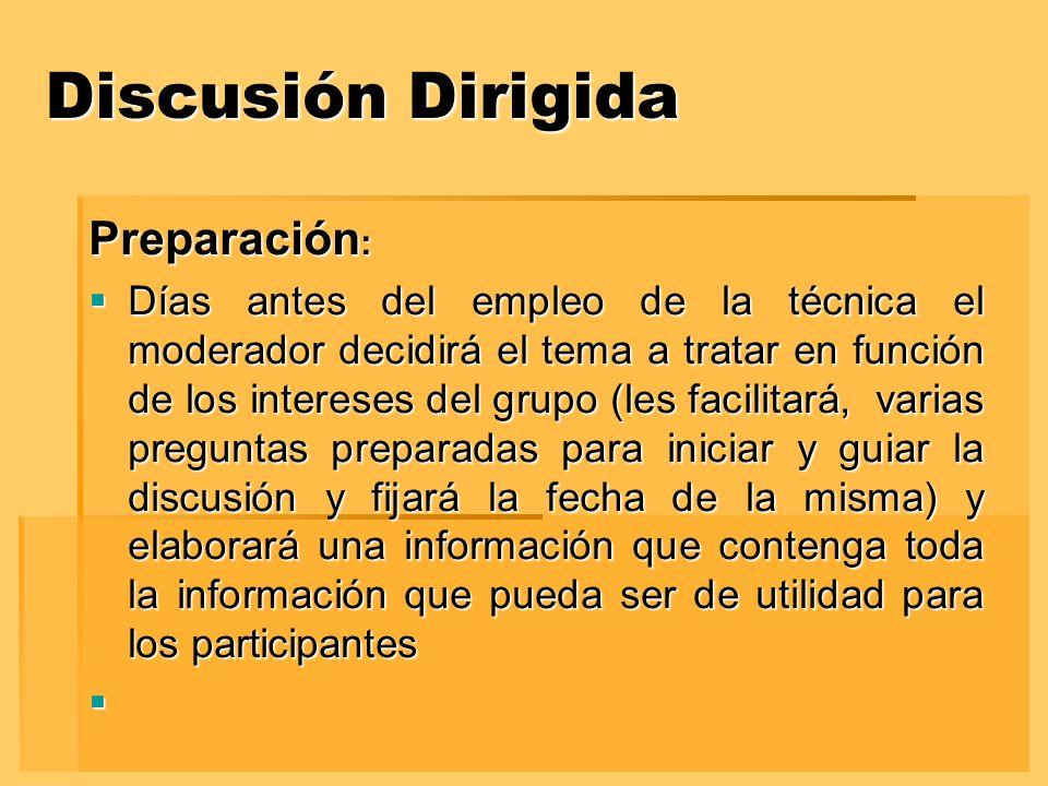 Discusión Dirigida Preparación: