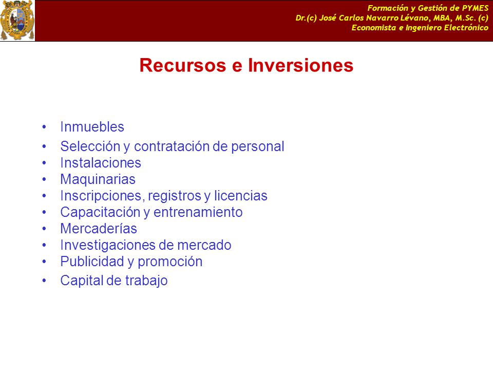 Recursos e Inversiones
