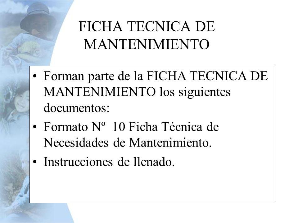 FICHA TECNICA DE MANTENIMIENTO