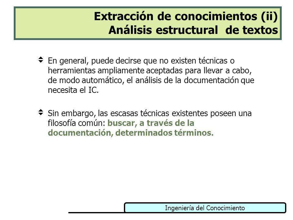 Extracción de conocimientos (ii) Análisis estructural de textos