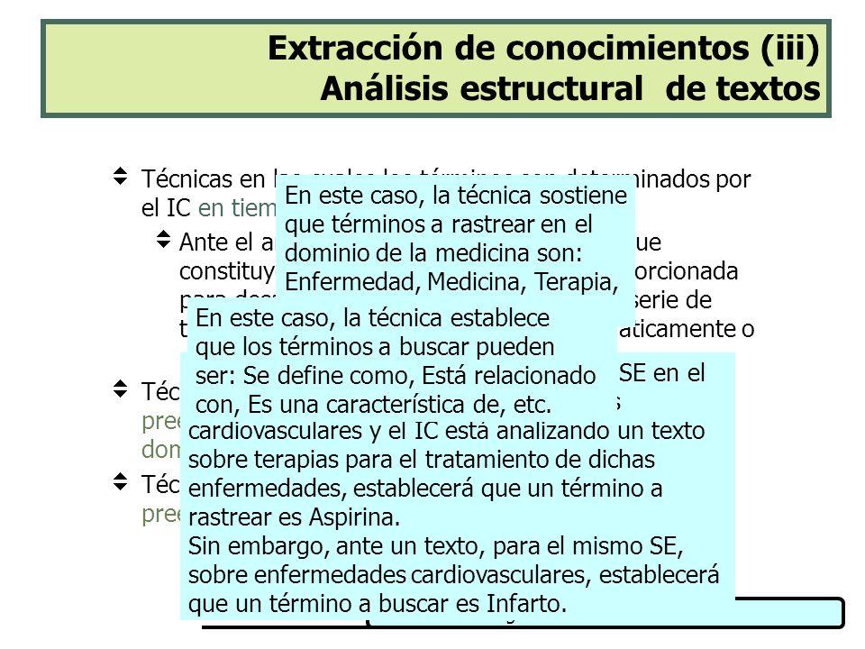 Extracción de conocimientos (iii) Análisis estructural de textos