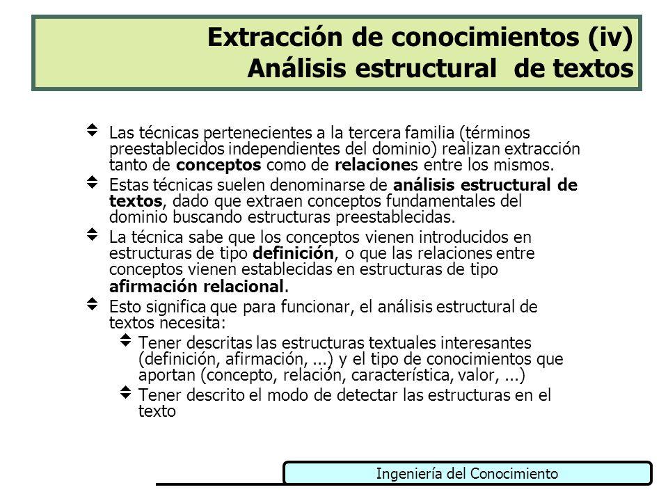 Extracción de conocimientos (iv) Análisis estructural de textos