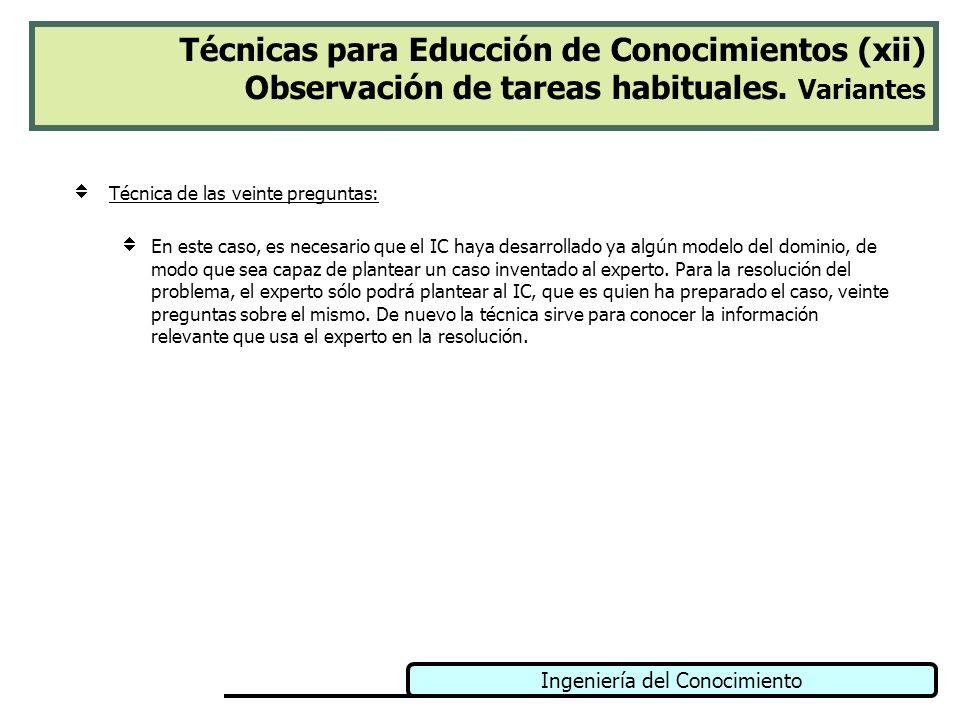 Técnicas para Educción de Conocimientos (xii) Observación de tareas habituales. Variantes