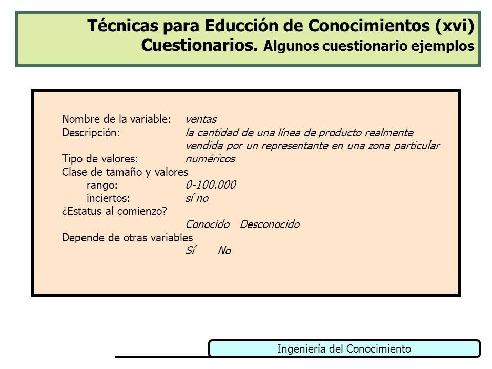Técnicas para Educción de Conocimientos (xvi) Cuestionarios
