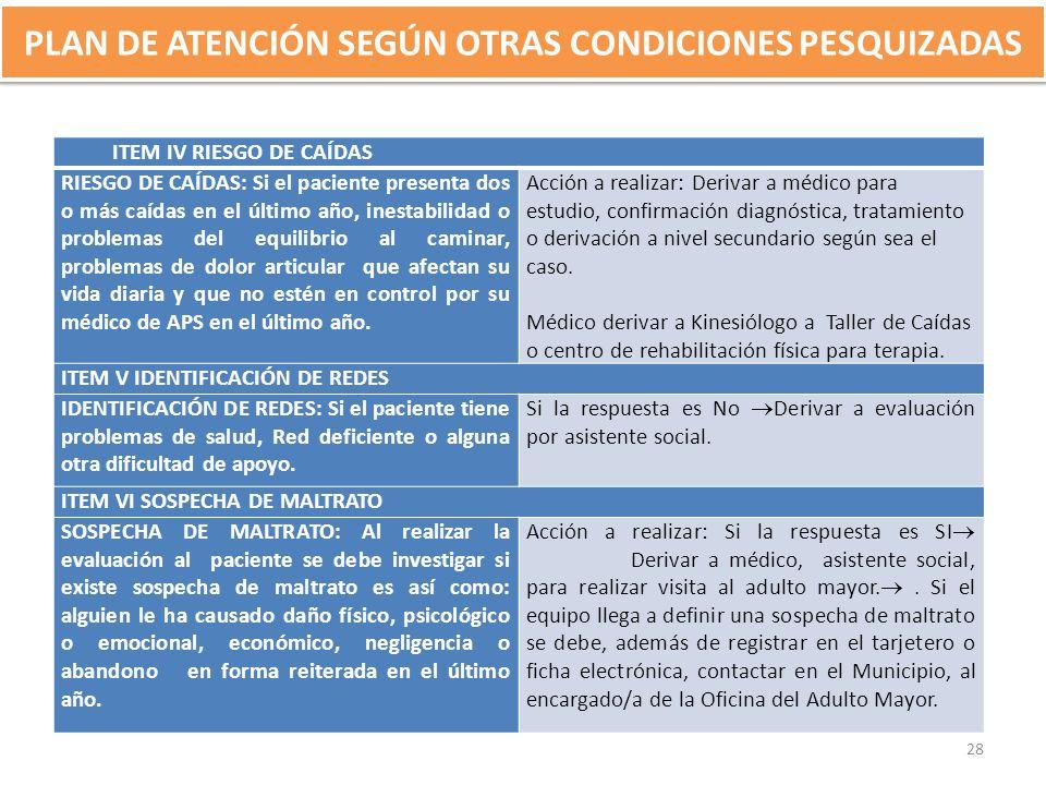PLAN DE ATENCIÓN SEGÚN OTRAS CONDICIONES PESQUIZADAS