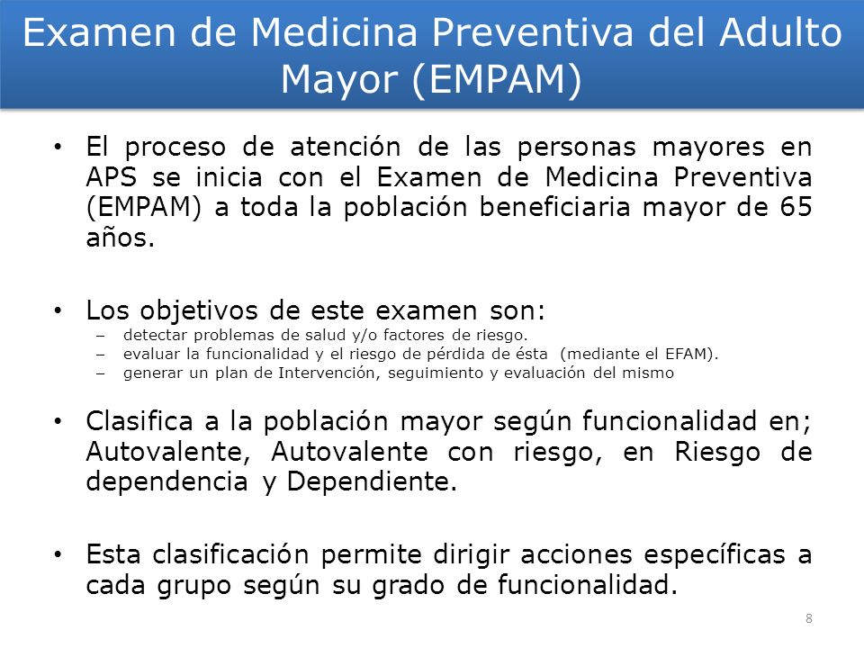 Examen de Medicina Preventiva del Adulto Mayor (EMPAM)
