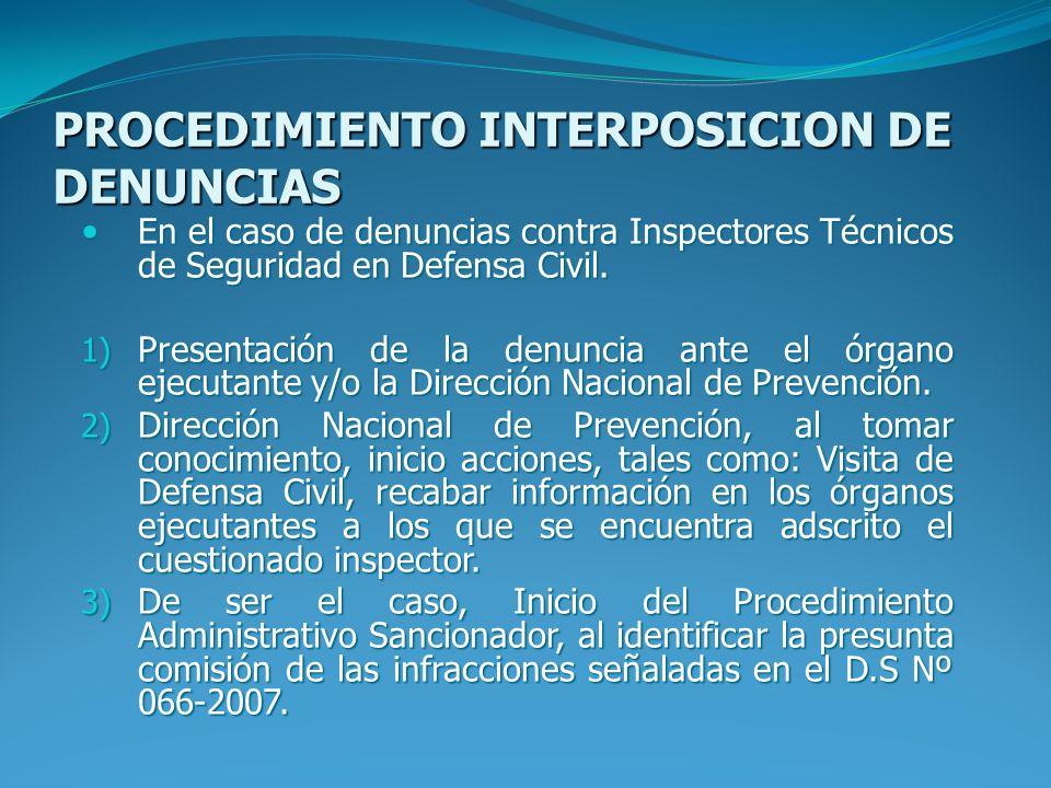 PROCEDIMIENTO INTERPOSICION DE DENUNCIAS