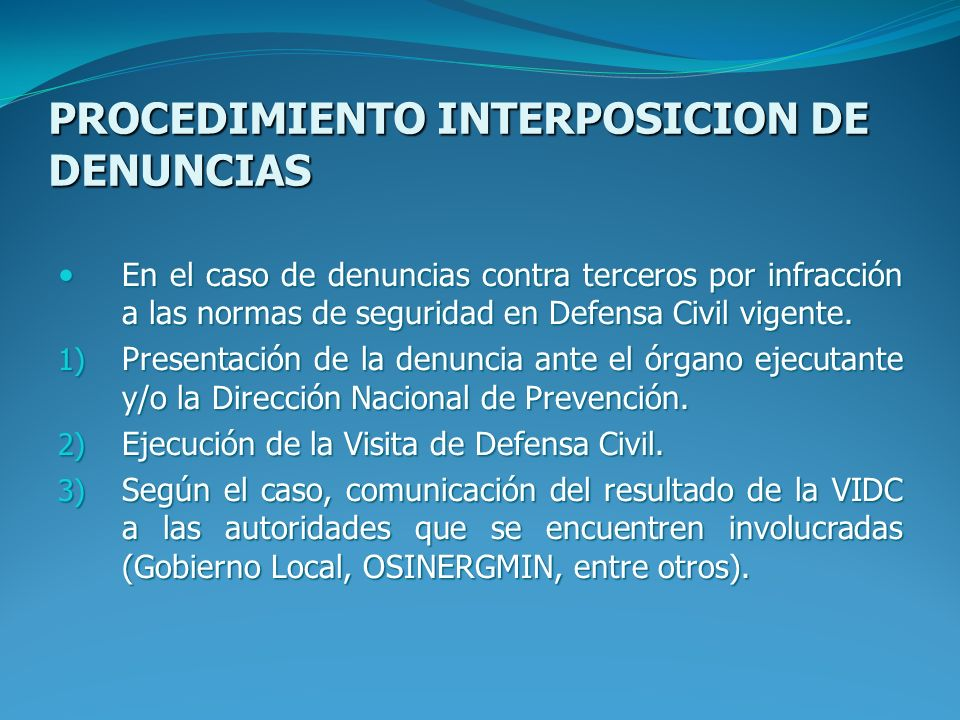 PROCEDIMIENTO INTERPOSICION DE DENUNCIAS