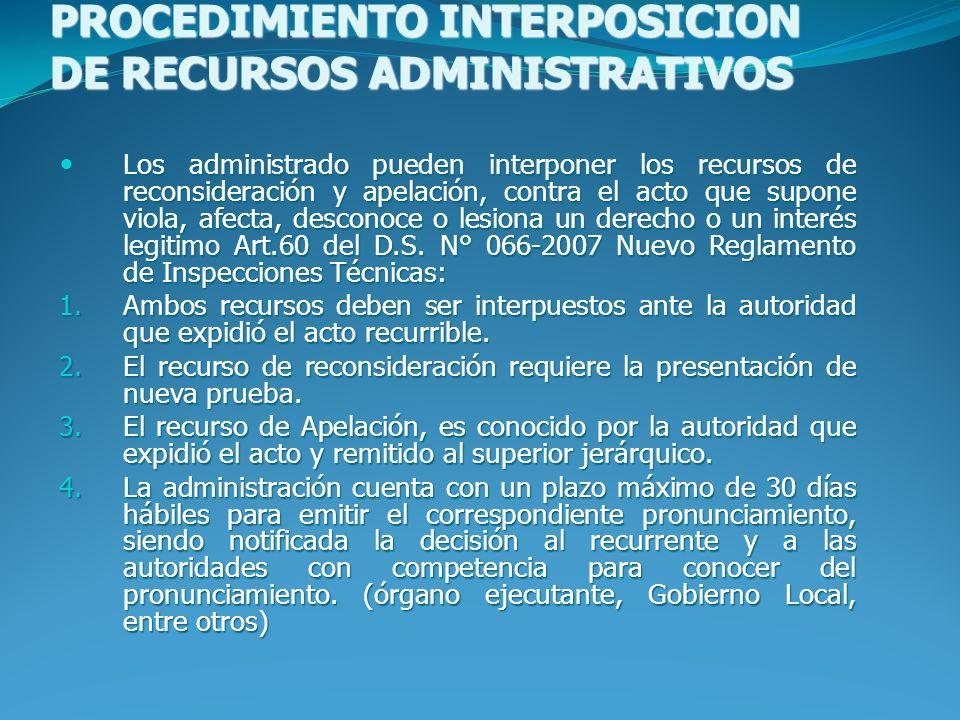 PROCEDIMIENTO INTERPOSICION DE RECURSOS ADMINISTRATIVOS