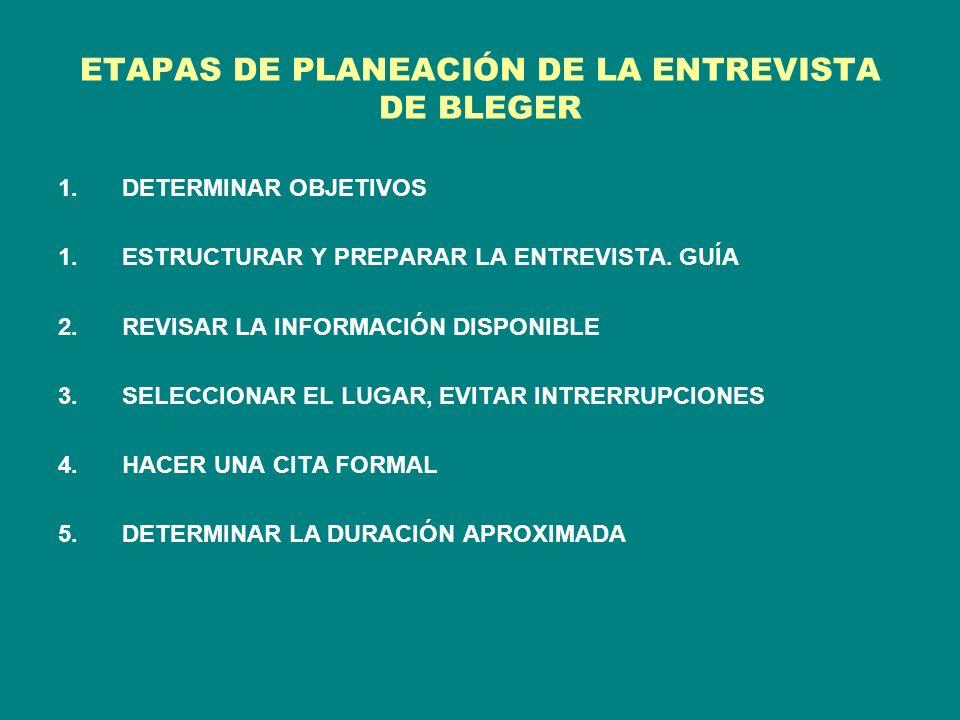 ETAPAS DE PLANEACIÓN DE LA ENTREVISTA DE BLEGER