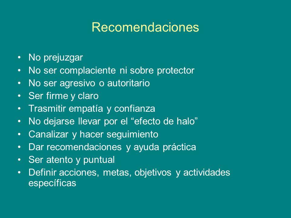 Recomendaciones No prejuzgar No ser complaciente ni sobre protector
